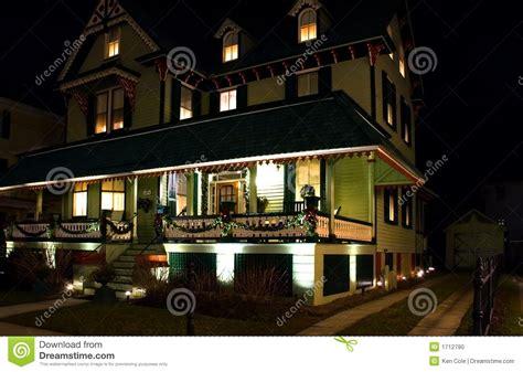 victorian house  night stock photo image  holidays