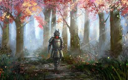 Samurai Fantasy Forest Sword Artwork Trees Armor