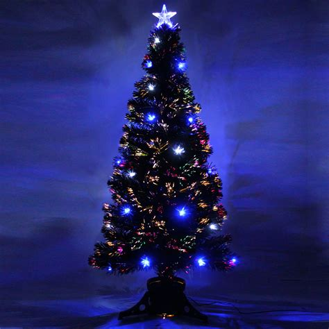 fibre optic black christmas tree 5ft black pre lit multi colour fibre optic tree 32 led white ebay