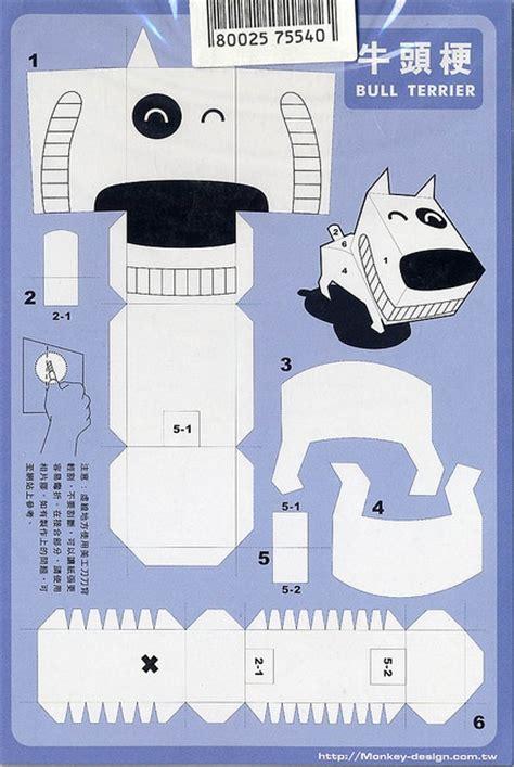 papercraft postcard bull terrier paper toys paper