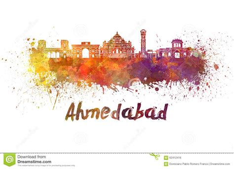 ahmedabad skyline  watercolor stock illustration image