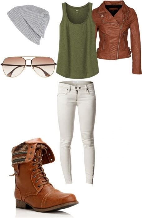 Brown leather jacket white skinny jeans brown combat boots grey beanie - Shoes and beauty