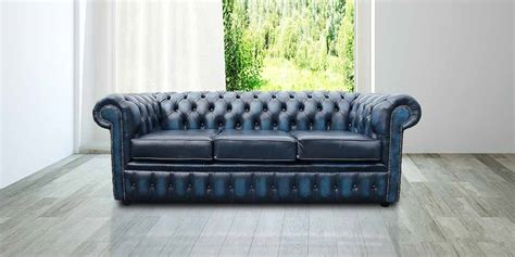 blue chesterfield leather sofa antique blue leather chesterfield 3 seater sofa