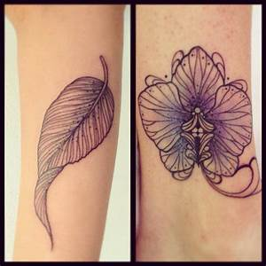 Flor Orquídea y Hoja by Miss Juliet Tatuajes para Mujeres