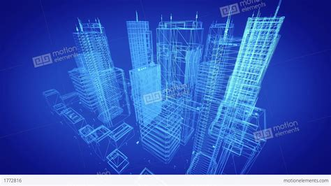Architectural Blueprint Of Contemporary Buildings, Blue