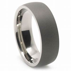 dark matte finish titanium dome mens ring With matte wedding ring mens