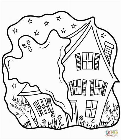 Coloring Ghost Halloween Haunted Pages Houses Printable