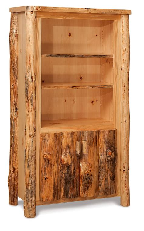 rustic bookcase with doors rustic log bookcase with doors