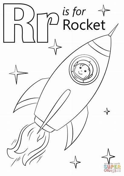 Letter Coloring Rocket Pages Printable Crafts Preschool