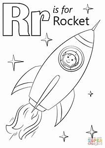 Letter R Is For Rocket Coloring Page