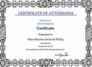 ms word perfect attendance certificate template word With certificate of attendance template microsoft word