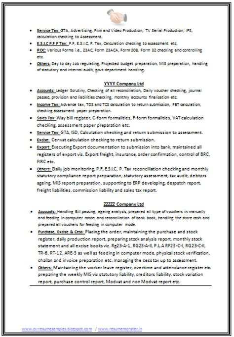 B Resume Format For Experienced by 10000 Cv And Resume Sles With Free B Resume Format For Experienced