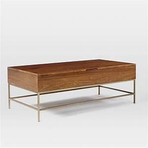 storage coffee table walnut antique brass west elm With walnut coffee table with storage