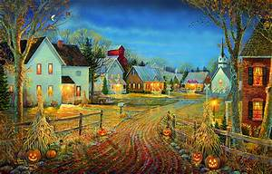 Town Country : a country town in autumn jigsaw puzzle ~ Frokenaadalensverden.com Haus und Dekorationen
