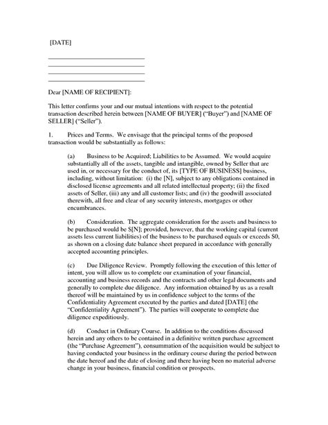 letter of intent to purchase business letter of intent exle mughals 9201