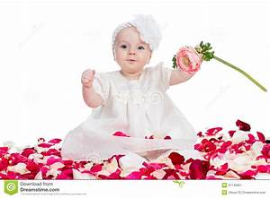 Cute baby girl with flower stock image. Image of baby ...