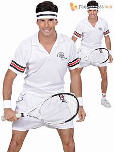 Mens Tennis Player Costume Adults Sport Relief Fancy Dress ...