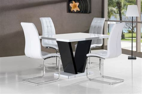 Black And White Dining Table Set by Vico White Black Gloss Contemporary Designer 120cm Dining