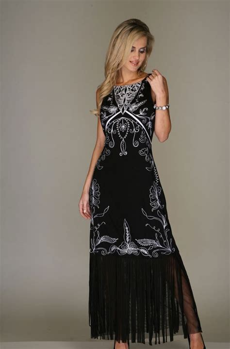 black  white embroidered dress western wear women