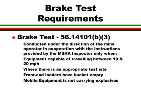 Brake And L Inspection Test by Ppt Msha Haulage Safety Powerpoint Presentation Id 267161