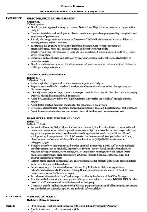 reimbursement resume samples velvet jobs