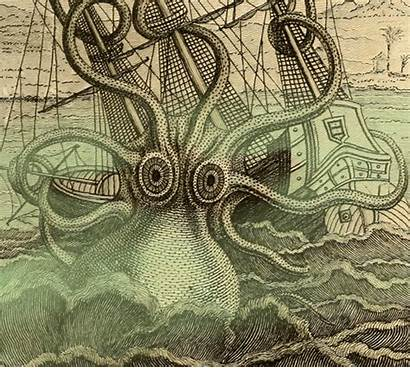 Sea Kraken Creatures Monsters Drawing Giphy Animated