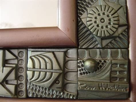 vintage terracotta tile mirror by hitchins 1960s for