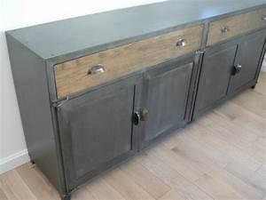 Buffet Industriel Pas Cher : bahut buffet vaisselier meuble en metal sur mesure ~ Dallasstarsshop.com Idées de Décoration