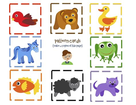 brown printable preschool printables 623 | Brown Bear 9 Pattern cards