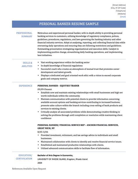 Personal Banker Description For Resume  Resume Ideas