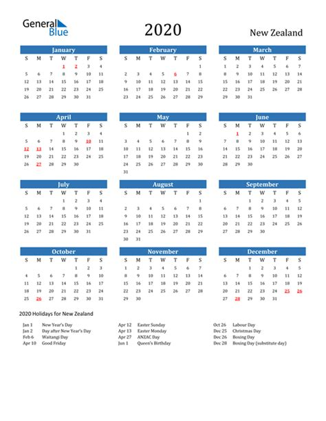 printable calendar   word  excel  zealand