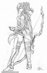 Ranger Elven Deviantart Archer Meganerid Coloring Pages Female Character Tattoo Elf Adult Fantasy Drawings Characters Sketches Drawing Dragons Dungeons Line sketch template