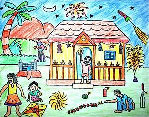 Deepavali Festival Drawing for Kids - Diwali Drawings ...