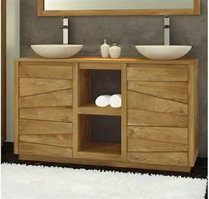 meubles salle de bain mobilier bois teck With porte de douche coulissante avec meuble bois double vasque salle de bain