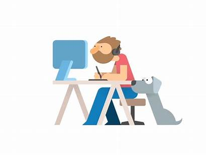 Working Animation Clipart Dribbble Career Gifs Jobs