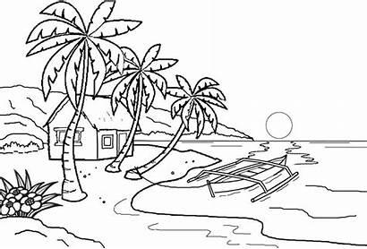 Mewarnai Pemandangan Gambar Pantai Untuk Alam Laut