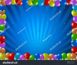 Kids Party Backgrounds, Frame Made Of Balloons Stock Photo ...