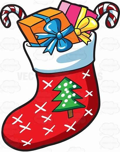 Sock Christmas Clipart Presents Socks Cartoon Drawing