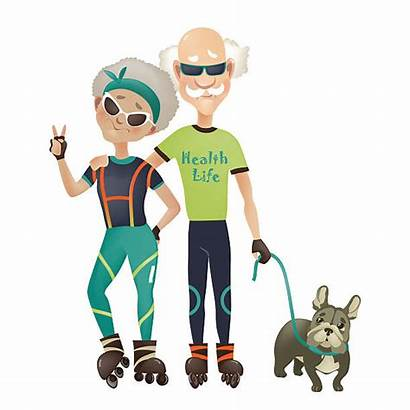 Cartoon Couple Active Sport Woman Illustration Doing