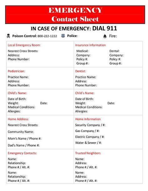 emergency contact sheet contact sheet emergency