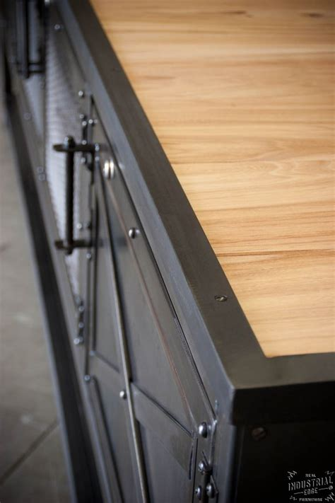 custom industrial kitchen island reclaimed wood steel real industrial edge furniture
