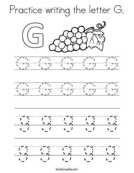 practice writing the letter g coloring page twisty 556 | a23006f08d0a84654ae9356ce4bbd1b7 letter g worksheets for preschool alphabet worksheets