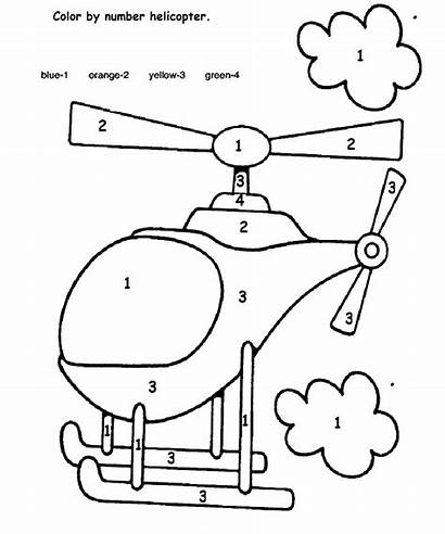 Preschool Number Transportation Worksheet Worksheets Helicopter Coloring