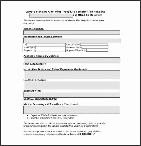 standard operating procedure sop templates
