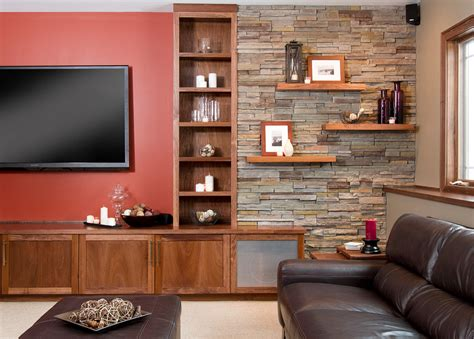 contemporary built in cabinets faux stone wall basement contemporary with built ins