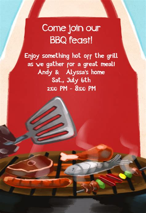 bbq feast bbq party invitation template