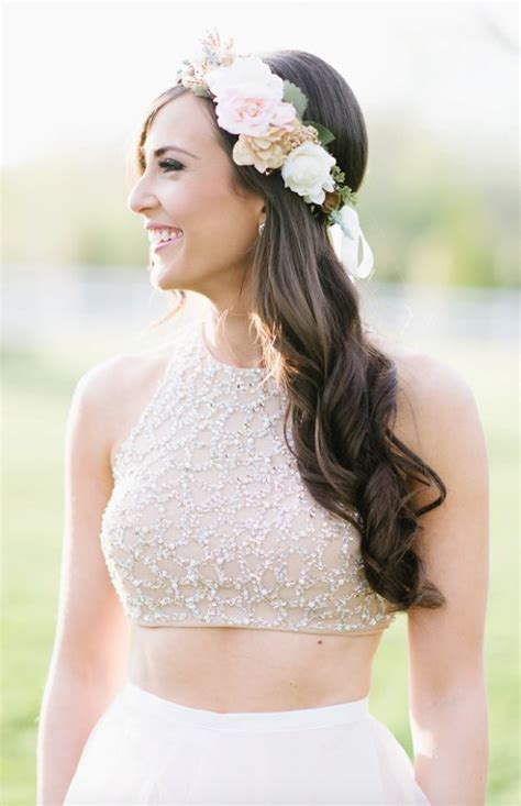 Boho Wave Flower Crown Wedding Hairstyle