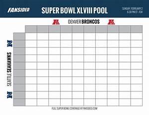 Super Bowl 2014 Seahawks Vs Broncos Squares Office Pool Board