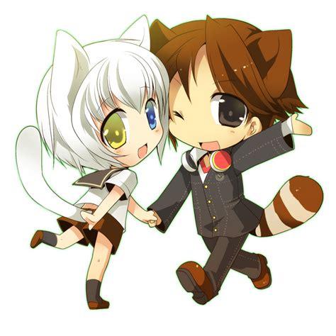 anime couple and cat chibi chibi photo 18529490 fanpop