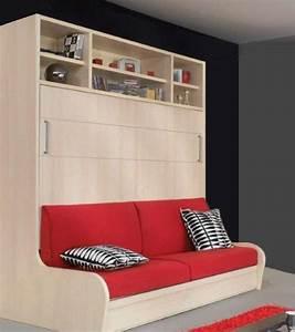 Lit Gain De Place : armoire lit transversal autoporteur canape etageres ~ Premium-room.com Idées de Décoration